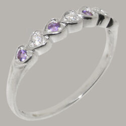 Solid 14ct White Gold Natural Diamond And Amethyst Womens Eternity Ring
