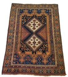 Finely Detailed Antique Geometric Affshar Rug - 4and0397 X 6and0394