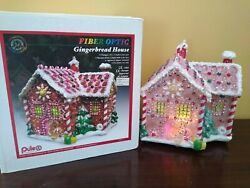 Vintage Lighted Gingerbread House Fiber Optic Christmas Puleo In Box