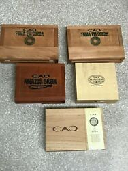 Lot Of 5 Empty Cao Brand Cigar Boxes