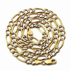 10k Yellow Gold 6.5mm Solid Pave Two-tone Figaro Chain Necklace 20 To 28 Inch
