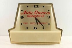 Vintage Fire Auto Casualty Insurance Advertising Light Up Clock