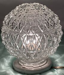 Antique Ceiling Globe With Deep Diamond Pattern 3 1/4andrdquo Fitter