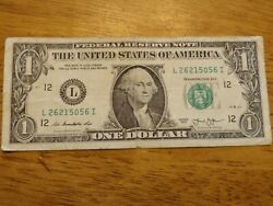 2013 Error Note Gas Pump Digit Low 0 In Middle 1 Bill Serial Number L26215056i