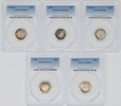 Five Pcgs Roosevelt Dimes 10c Mixed Dates Grades And Mint Marks 943739-11