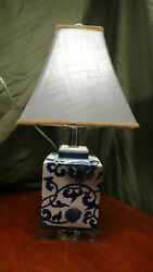 Vintage Square Shaped Ceramic Lamp - Blue And White With A Clear Glass Base