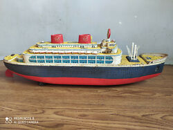 Rare Vintage Battery Powered Huge Tin Plate Ocean Liner Of 50and039s Made In Japan.