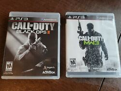 Ps3 Call Of Duty 2pc Video Game Bundle Lot Black Ops Ii Mw3 Complete W/ Manuals