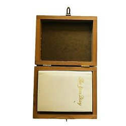 1970andrsquos Dear Diary In Hinged Wooden Box With Unused Diary Book Secret Writing Vtg