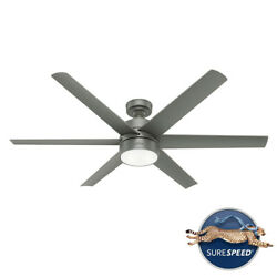 Hunter 60 Solaria Outdoor Ceiling Fan W/ Led Light Wall Control Industrial