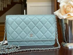 Nwt 2020 Green Blue Gray Caviar Woc Wallet On The Chain Bag Sold Out
