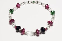 Ciner Green Pink Blue Poured Glass Beads Crystal Collar Necklace
