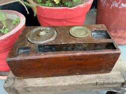 Antique Old Rare India Wooden Hand Carved Brass Ink Pot Color Box Pen Stand 1850