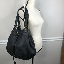 Nordstrom Womens thick pebbled bucket Leather Large Tote Bag Black purse $49.95