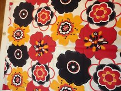 Vintage Fabric Wild Black Gold amp; Rust Floral Print Cotton 1 1 2 Yards 44quot;W