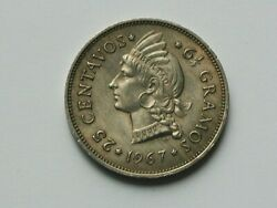 Dominican Republic 1967 25 Centavos Coin Au With Nice Tone And Liberty Indian Head