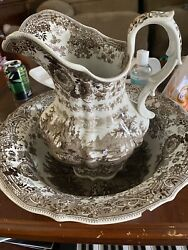 Antique 1834 William Ridgway Andco Brown Tyrolean Water Pitcher And Basin