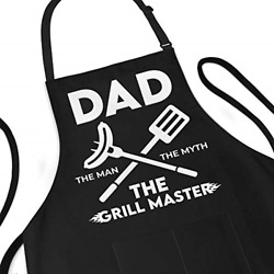 Funny Apron For Men - Dad The Man The Myth The Grill Master - Adjustable Large 1