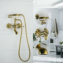 Golden Bathroom Tub Brass Faucets Shower Set Dual Handle Mixer Taps Wall Mounted