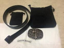 Chrome Hearts Authentic Buckle Belt Leather Black Size 34 Cross Oval 925