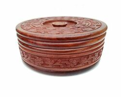 Chapati Roti Box Handmade Wooden Bread Keeper With Lid Antique Look From India