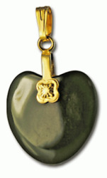 Jade Heart Pendant Charm Hand Craved Chinese Asian Green 18kt Gold Bal Fine Nwt