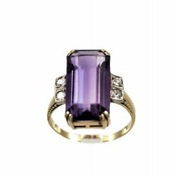 Antique Gold Ring With Amethyst Art Deco 1920s