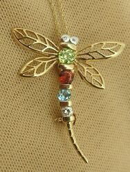 Dragonfly Pendant / Pin With Multi Gems And Diamond On 18 Chain 10k Yellow Gold