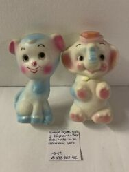 Vintage Squeak Toys 2 Elephant And Bear Baby Made In W. Germany 60and039s