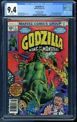 Godzilla 1 35 Cent Price Variant 0.35 - Cgc 9.4 - White Pages Marvel 1977