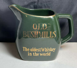 """Old Bushmills """"the Oldest Whiskey In The World"""" Bar Jug Pitcher Green And Gold"""