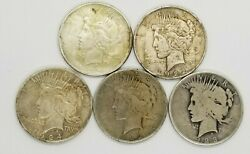 Peace Silver Dollars Cull Lot Of 5 1921-1935 Mixed Year And Mint 90 G-vf