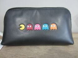 New Coach Pacman Cosmetic Black Leather Bag Pouch Multipurpose F56712 HTF $188.00