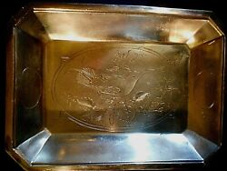 Antique Early Meriden B Company Silverplate Footed Serving Tray With Bird Design