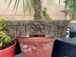 17th C Antique Wood Old Bird Floral Carving Old House Ceiling Bracket Old Panel