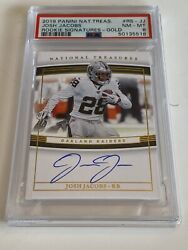 2019 Josh Jacobs National Treasures On Card Auto Rookie Sig Gold /25 Rc Psa 8 🔥