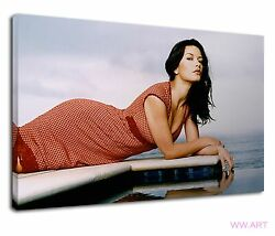 Sexy Red Drssed Catherine Zeta Hot Pool Shot Canvas Wall Art Picture Print