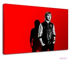 David Guetta Superstar Dj Red Background Electro Canvas Wall Art Picture Print
