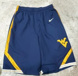 Rare 2010 Nike West Virginia Mountaineers Authentic Basketball Shorts Men's Lg