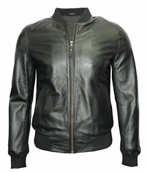 New 70and039s Retro Bomber Menand039s Black Cool Classic Soft Spanish Nappa Leather Jacket