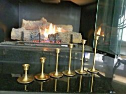 Vintage Brass Tulip Candlesticks - Set Of Six Individual Pieces Variations