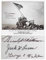 Iwo Jima Photo Signed By Three Medal Of Honor Recipient
