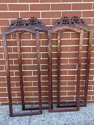 17 X 51 Set Of 4 Large Antique Carved Chinese Style Window Or Picture Frames