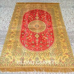 Yilong 4'x6' Handknotted Silk Carpet Gold Red Home Office Area Rugs Mc343b
