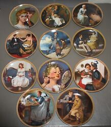 Lot Of 11 Norman Rockwell's Rediscovered Women Collector Plates W/ Coa No Box