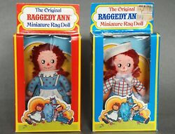 Vintage Nnickerbocker Raggedy Anne And Andy Miniature Dolls New In Boxes 9007