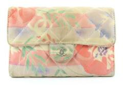 Rare Limited Quilted Hawaiian Flower Leather Classic Flap Wallet 723c