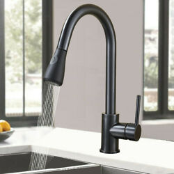 Single Hole Brushed Kitchen Black Faucet Sink Pull Out Sprayer Swivel Mixer Tap