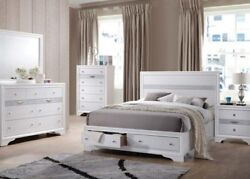 White Color Queen Size Bed Casual Bedroom Wooden Furniture Elegant Stylish 1pc