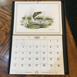 Vintage June 1979 Wall Calendar Largemouth Bass Picture Framed 12x16 Mint